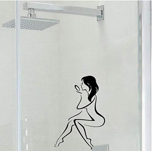 FXQ Wall Sticker Frau mit Handspiegel Bad Salon Vinyltür Aufkleber Wasserdichte Dekoration Wand Sticker17 * 25 CM