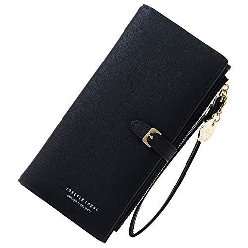 Coopay Kunstleder Geldbörse,Damen Solide Groß Kapazität Brieftasche,Portemonnaie mit Reißverschluss Handschlaufe,Frauen Clutch Tasche Handy für Xiaomi Mi A1 A2 Lite/Redmi Note 7 Note 6 Pro - Schwarz