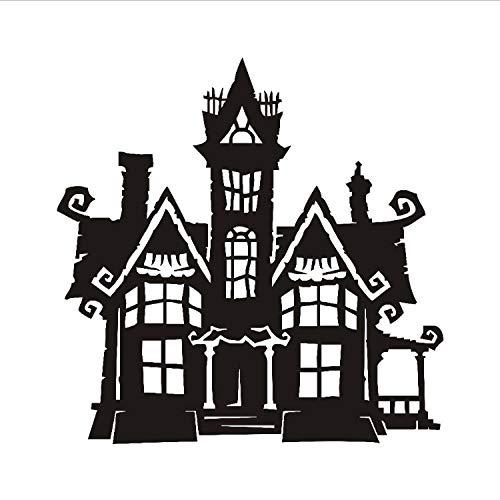 xmydeshoop Halloween Haunted Home Tower Vinyl Abnehmbare Wandtattoo Home Decor Wandaufkleber Für Wohnzimmer Halloween Dekoration 59X59 cm