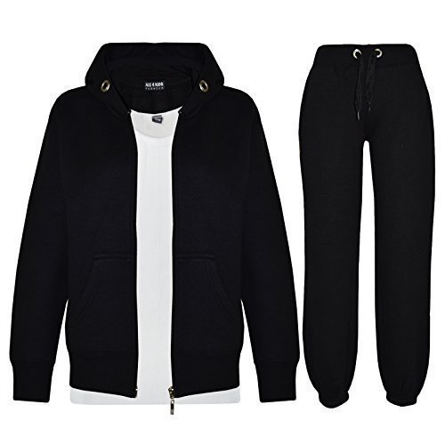 Kids-Girls-Boys-Plain-Tracksuit-Hooded-Hoodie-Bottom-Jogging-Suit-Joggers-New-Age-7-8-9-10-11-12-13-Year