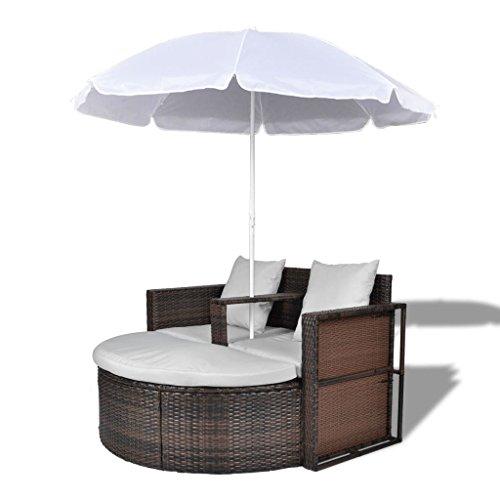 Vidaxl set divano da giardino in polirattan marrone con parasole da esterno