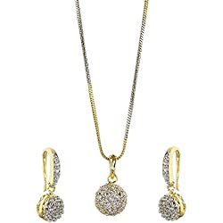 JDX American Diamond Gold Plated Pendant Set for Women and Girls