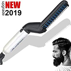 BUDDYGO Peigne Electrique pour Homme Rapide Barbe Lisseur Multifonctionnel Peigne Cheveux pour Lisser ou Boucler 120°C Professionnel Cheveux Styler pour Hommes