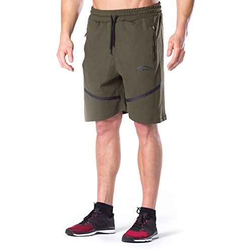 SMILODOX Herren Shorts 'Tech Pro' | Kurze Hosen für Sport Gym Training & Freizeit | Sporthose - Freizeithose - Trainingshose - Sweatpants Jogger - Jogginghose Kurz Olive