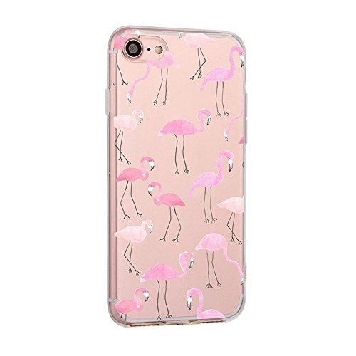 Iphone Silicon Protector (XFAY Handytasche HandyHülle /iPhone 7 Hülle/iPhone SE Schutzhülle/TPU handytasche iphone 7, Transparent TPU Case Silikon Tasche Hülle Silicon Protector Schutzhülle Handyhülle mit für iPhone 7 / 4.7 Inch( Flamingos))