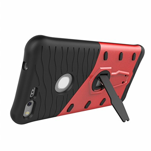 Für Google Pixel XL Armor Cover, 2 In 1 Durable TPU + PC Heavy Duty 360 ° Drehbarer Stand Dual Layer Shockproof Case Cover ( Color : Silver ) Red