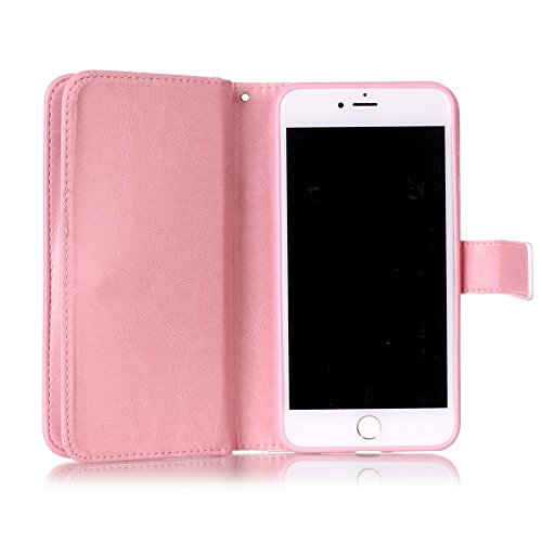 Cover iPhone 7 Plus, Custodia iPhone 8 Plus a Libro, Flip Portafoglio Cover in Pelle + Bumper Custodia in Silicone TPU Morbido, Surakey Elegante Full Body Protezione Posteriore iPhone 7 Plus Custodia  Bowknot