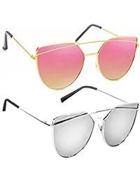 db8f99cdf7ef Phenomenal Cat Eye Aviators Unisex Sunglass Combo (Dior-Pink-Silv_Sg, 3,