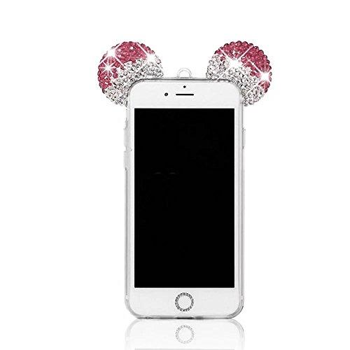 iPhone 7 Hülle, MOMDAD Diamant Bling Strass Handyhülle für iPhone 7 Schutzhülle Handmade Cartoon Maus Mouse Ohr Ear Rückseite Case Cover Transparent TPU Silikon Weich Glitzer Glänzend Telefonkasten Ab Kristall ROSE Rosa
