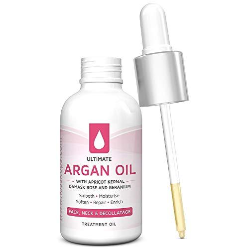 Arganöl mit Aprikose Kernel, Geranium Reine Ätherische Öle - für Gesicht, Hals und Dekolleté- Marokko S Liquid Gold Facial Massage Öl 30ml von Naturals Best (Aprikose Massage-öle,)