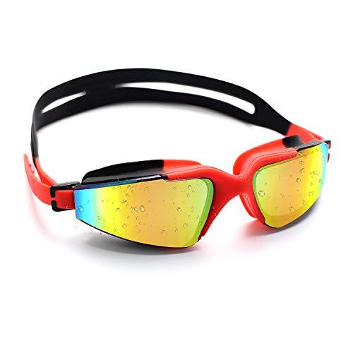 Conthfut Schwimmbrillen für Kinder Unisex Swim Schwimmbrille Antibeschlag UV Schutz Schwimmen Brille für Kinder und Teenageralter von 3 bis 15 Jahren (Rot)