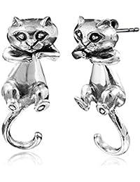 MATERIA gioielli 925 argento orecchini gatti - orecchini da donna in argento a forma di gatto con lama mobile corpo 10 x 29 mm con gioielli #SO-129