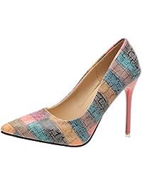 Zapatos mujer tacón alto slip on,Sonnena Zapatos de tacón fino de moda de mujer Impresión salvaje Colores mezclados zapatos de tacones altos punta estrecha