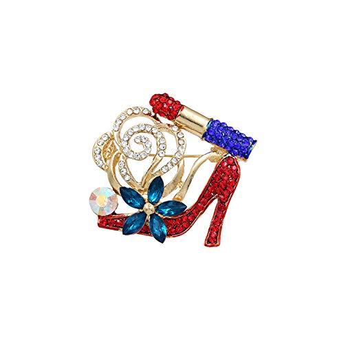 LYH Spilla Scarpe A Tacco Alto con Fiore di Cristallo Spille con Rossetto Sexy per Le Donne Festa di Nozze Accessori per Gioielli Fai-da-Te Spille