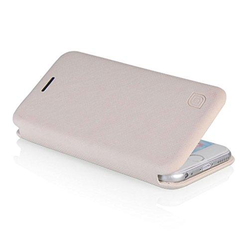 UKDANDANWEI LEAF® UltraSlim Case - Hülle aus Leder mit Standfunktion & EC- Kreditkartenfach Für iPhone 6 - Hot Rosa Weiß