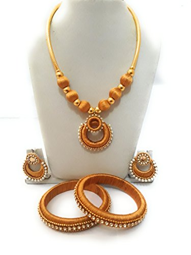Murugan silk thread jewelry set(golden yellow)