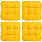 4er Set - Bequemes Stuhlkissen Lisa - 40x40x8 cm - Gelb - Besonders stark gepolstertes, weiches Sitzkissen in weiteren Farben wählbar