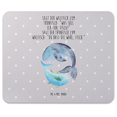 Mr. & Mrs. Panda Geschenk, Mouse Pad, Mauspad Walfisch & Thunfisch mit Spruch - Farbe Grau Pastell