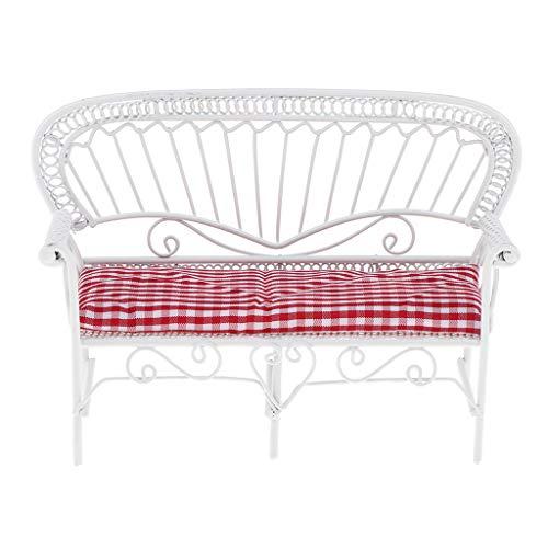 Fenteer Miniatur Gartenmöbel Parkbank Sitzbank mit Matte für 1/12 Puppnhaus Garten Dekoration - Rot + Weiß