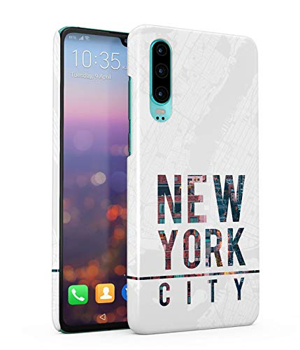 Hülle Hardcase Kompatibel mit Huawei P30 New York Amerika White Graphics USA Dream Country Trippy Manhattan Cityscape Travel NYC Explore Time Square Long Island eng Anliegendes, Dünnes Handyhülle