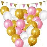 BELLE VOUS 106 tlgs Luftballons - Geburtstag Ballons - 30,5cm Gold, Rosa u Weiße Party Luftballons und Girlanden Dekorationen Set - Geburtstagsfeier, Baby-Duschen, Graduierung & Hochzeit Feiern