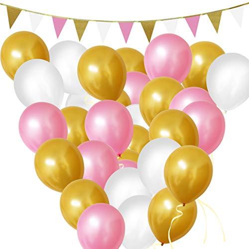 Luftballons - Geburtstag Ballons - 30,5cm Gold, Rosa u Weiße Party Luftballons und Girlanden Dekorationen Set - Geburtstagsfeier, Baby-Duschen, Graduierung & Hochzeit Feiern ()