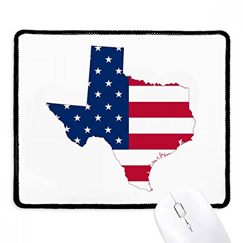 DIYthinker Texas USA Karte Stars And Stripes-Flagge Form Griffige Mousepad Spiel Büro Schwarz Titched Kanten Geschenk
