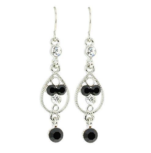 Lange Ohrringe silber farbig mit schwarzen designer Steinen und Kristallsteinen - Hochwertiger Schmuck