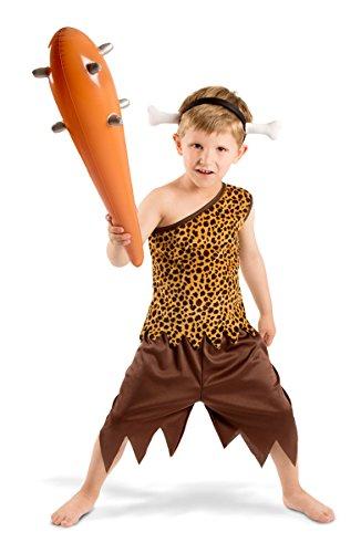 Folat 21893 Caveman Höhlenmensch Kostüm Boys, 3-teiliges, Kinder Größe 116-134