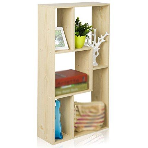 DFHHG® Librería Libro Stand 47.6 (L) * 16.6 (W) * 90 (H) Cm 6.2 Kg Librería Cinco Grid Almacenamiento De Pared Marco Blanco Color De Arce durable