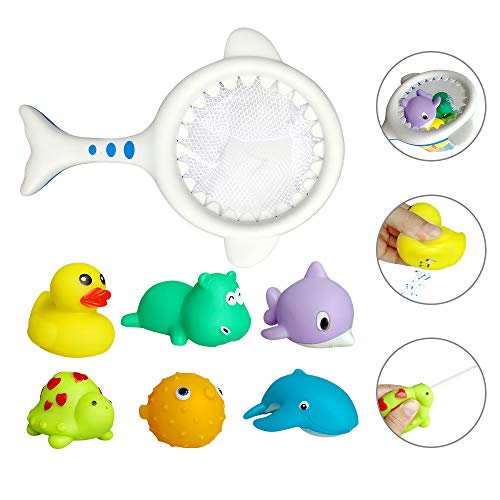 Aokebeey 7 Stück Badespielzeug-Set für Baby, Badewannenspielzeug mit Fischernetz Schwimmenden Tieren, Squeeze Spielzeug Ozean Sprühwasser kinderspielzeug für 1 2 3-Jahre Mädchen Jungen Kleinkinder