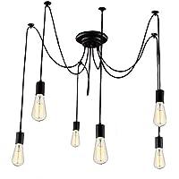 Lightess Suspension Induistrielle Vintage Rétro 6pcs Lampe Plafonnier Luminaire Pendentif Installation Facile pour Éclairage Salon Salle Chambre Décorer Maison Cuisine - Noir