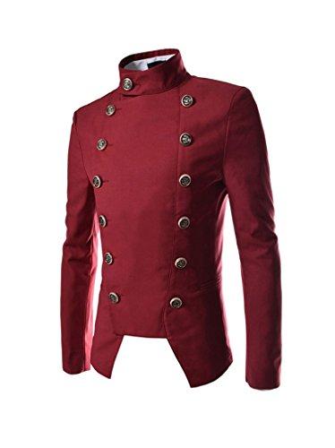 Keral Männer Unregelmäßig Schnitt Runde Zweireiher Kragen Mantel Xxl Rot