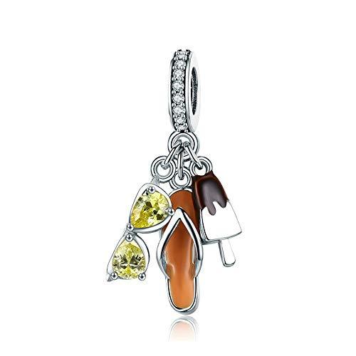 Reiko Sonnenbrille EIS Flip Flops 925 Sterling Silber Charms DIY Baumeln Anhänger Perlen für Armbänder oder Halsketten,Geschenk für Mädchen Frauen,Geschenktasche,Nickelfrei