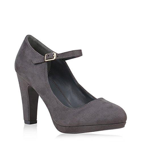 Damen Schuhe Pumps Mary Janes Veloursleder-Optik High Heels Blockabsatz 153004 Grau 40 Flandell Heel Mary Jane Pump Schuhe