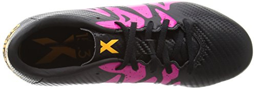 adidas X 15.3 Fg/Ag, Chaussures de Football Garçon Multicolore (Core Black/Shock Pink/Solar Gold)