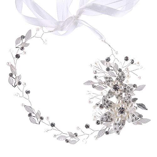 BOLAWOO-77 Damen Stirnband Sparkle Strass Perlen Blumen Silber Kopfband Temperament Elegant Süße Stirnbänder Für Hochzeit Braut Tea Party (Color : Silber, Size : One Size)