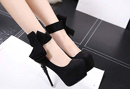 NobS Le Donne Con I Tacchi Alti Scarpe Impermeabili Shoesbow Cono Scarpe Tacchi Da Sposa Black