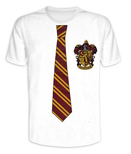 Harry Potter T-Shirt Tie & Crest (in Größe S, M, L, XL)/Shirt mit Krawatte & Wappen von Gryfindor (L) (Männer Für T-shirt Und Krawatten)