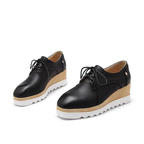 VogueZone009 Femme Pu Cuir Couleur Unie Carré Lacet à Talon Correct Chaussures Légeres Noir