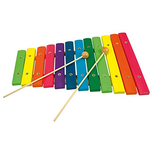 Preisvergleich Produktbild 12-Ton Xylophon * buntes 12-Ton-Xylophon aus Holz mit 2 Klöppeln, ca. 33x21,5 cm * Grösse:33 x 22 x 4 cm