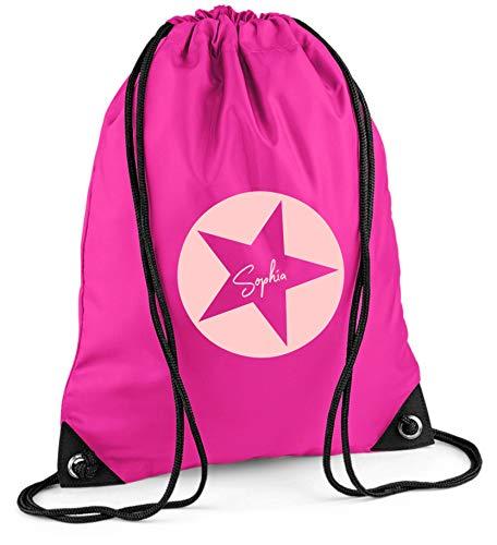 Turnbeutel mit Namen | Motiv Stern Sterne inkl. Namensdruck | Personalisieren & Bedrucken | Sportbeutel Schuhbeutel dunkel-blau für Jungen & Mädchen Kinder | Rucksack zum Zuziehen (pink)