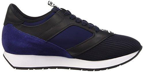 Bikkembergs Runn-Er 622 L.Shoe M Fab/Lycra/Suede, Pompes à Plateforme Plate Homme Bleu (Black/Blue)