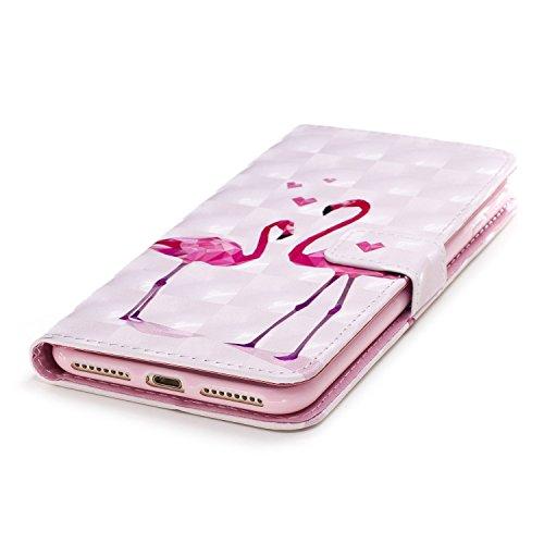 """Pour iPhone 7/iPhone 8 4.7"""",Coque Cas iPhone 7/iPhone 8 4.7"""" Swag Case,SKYXD Étui Ultra Mince Bumper Cuir Coque 3D colorée Vintage dessin peinture Peint Design élégant Mode Sensation et 3 in 1 Adhéren Flamant"""