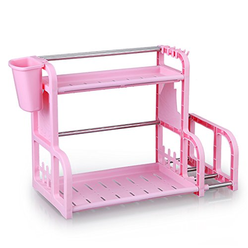 Lanlan Küche Organisation Multifunktional 2 Layer Würze Schneidebrett Double Regal Rack, rosa (Double-layer Unten)