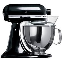 KitchenAid Artisan 5KSM150PSDOB 10 Speed 4.7Litre (5Qt) 300 Watt Tilt Head Stand Mixer with Flat Beater, Dough Hook, Whisk, Stainless Steel Bowl & Pouring Shield (Onyx Black)