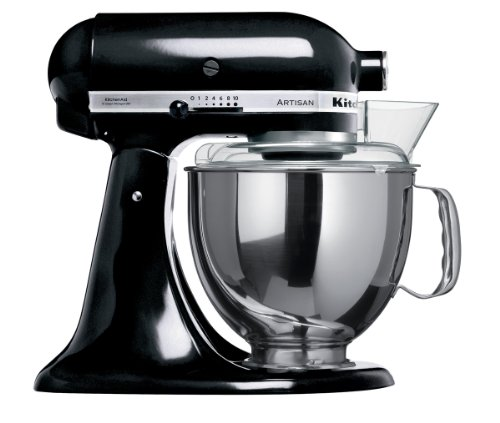 KitchenAid Artisan 5KSM150PSDOB 10 Speed 4.7Litre (5Qt) 300 Watt Tilt Head Stand Mixer with Flat Beater, Dough Hook, Whisk, Stainless Steel Bowl & Pouring Shield (Onyx Black)