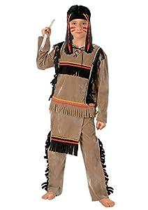 FIORI PAOLO 27127-indio Apache disfraz niño, 7-9años, Beige/Negro/Rojo