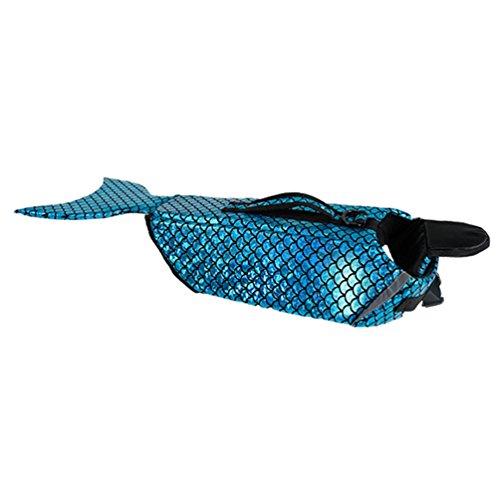 LvRao Hund Haustier Schwimmweste Rettungsweste Wassersport mit Griff Meerjungfrau Kostüm Schwimmmantel (Blau, M)