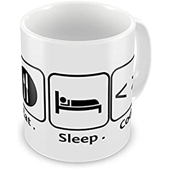 Humor Gang Eat Sleep Code Repeat - Tech Coding Programmer Designer Life Coffee Mug, 12 oz